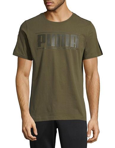 Puma Rebel Tape Cotton T-Shirt-GREEN-Small