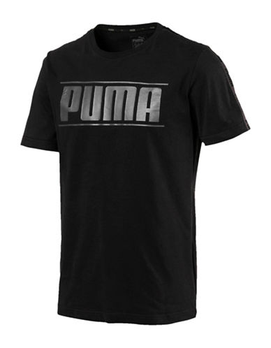 Puma Rebel Tape Logo Cotton Tee-BLACK-XX-Large
