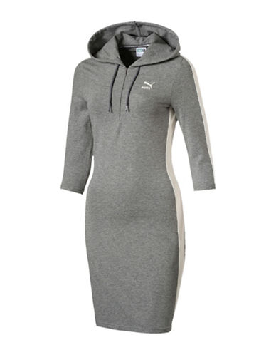 Puma T7 Hooded Sports Dress-GREY-Medium