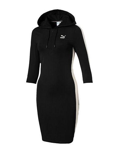 Puma T7 Sweatshirt Hoodie Dress-BLACK-Medium