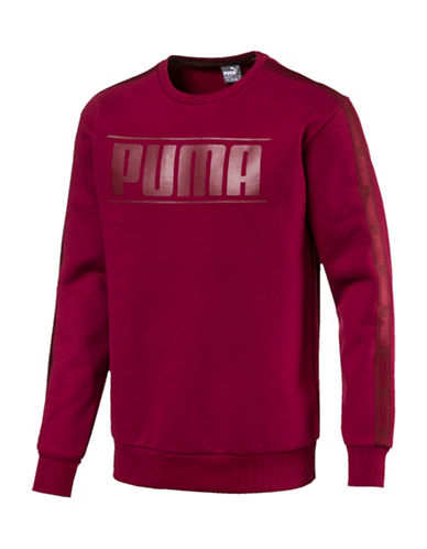 Puma Rebel Tape Crew Neck Sweatshirt-RED-Small