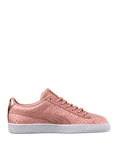 Puma Womens Basket Satin Low Top Sneakers-PEACH-6.5