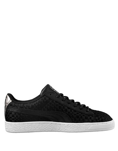 Puma Womens Basket Satin Low Top Sneakers-BLACK-7.5