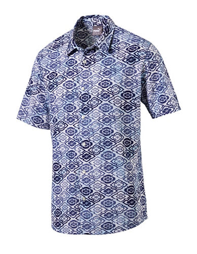 Puma Aloha Short-Sleeve Sport Shirt-BLUE-X-Large