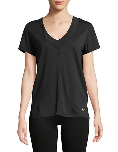 Puma Slouchy V-Neck Mesh Tee-BLACK-Large 89874250_BLACK_Large