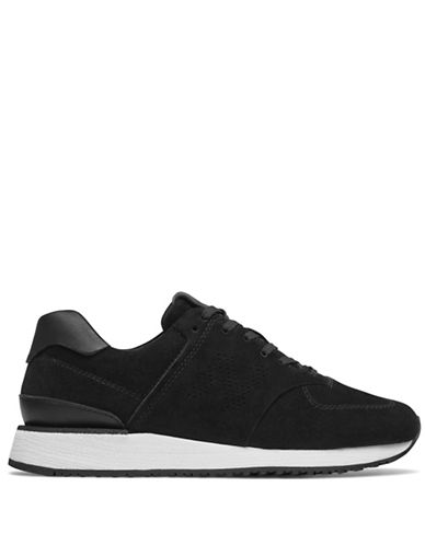 New Balance Contrast Sole Leather Sneakers-BLACK-6