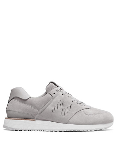New Balance Contrast Sole Leather Sneakers-GREY-8.5