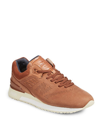 New Balance Mens Peforated Suede Sneakers-BROWN-9W