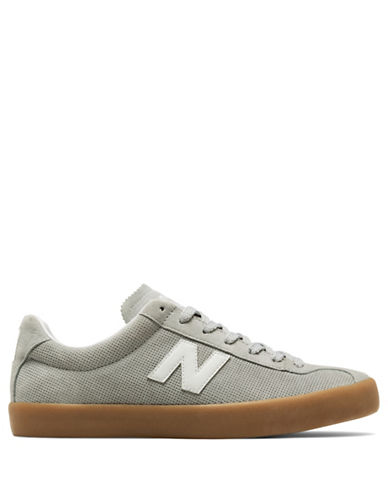 New Balance Mens Pindot Suede Sneakers-GREY-7.5W