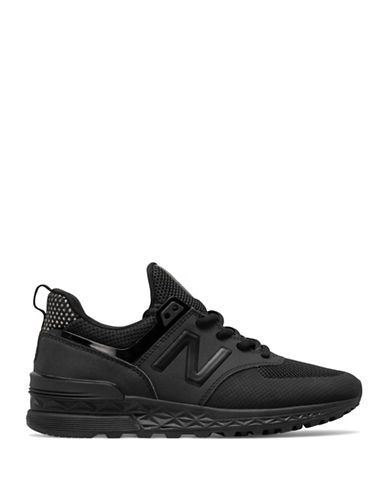 New Balance Womens 574 Sports Sneakers-BLACK-9.5