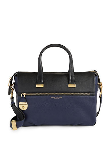 Marc Jacobs Standard Medium East West Leather Tote Bag-BLUE-One Size
