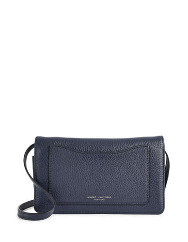 Marc Jacobs Leather Wallet with Crossbody Strap-MIDNIGHT BLUE-One Size