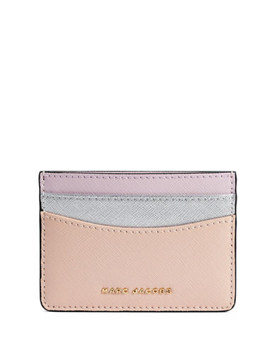 Marc Jacobs Saffiano Colourblock Card Case-PINK-One Size