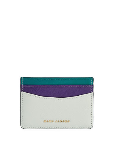 Marc Jacobs Saffiano Colourblock Card Case-DOVE-One Size