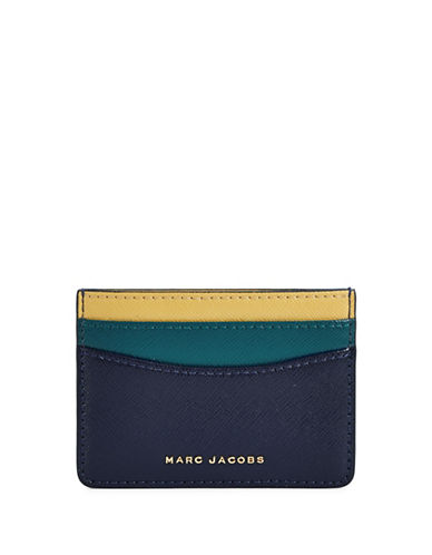 Marc Jacobs Saffiano Colourblock Card Case-MIDNIGHT BLUE-One Size