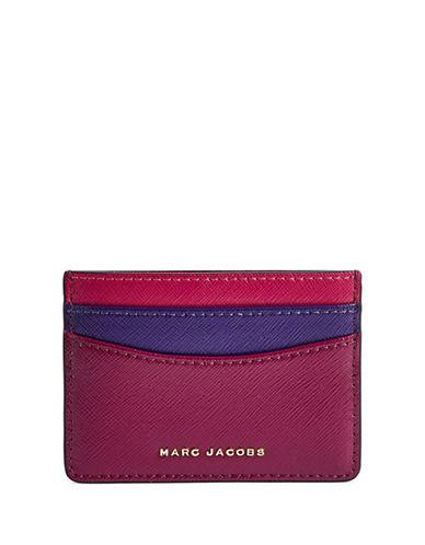 Marc Jacobs Saffiano Colourblock Card Case-BERRY-One Size