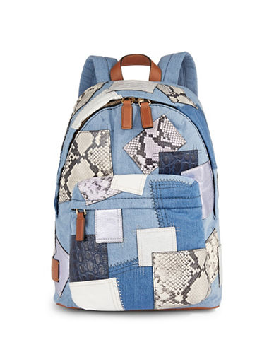 Marc Jacobs Denim Patchwork Biker Backpack-BLUE-One Size