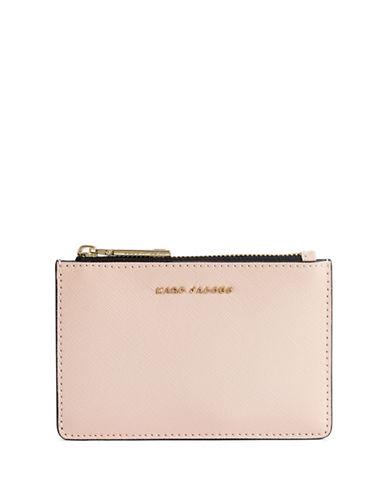 Marc Jacobs Saffiano Colourblock Zip Card Wallet-PALE PINK-One Size