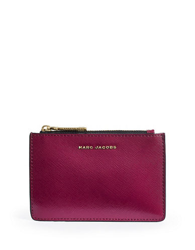 Marc Jacobs Saffiano Colourblock Zip Card Wallet-BERRY-One Size
