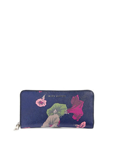 Marc Jacobs Morning Glories Saffiano Leather Wallet-BLUE-One Size