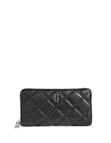 Marc Jacobs Double J Quilted Leather Wallet-BLACK-One Size