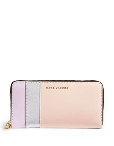 Marc Jacobs Saffiano Colourblock Continental Wallet-PALE PINK-One Size