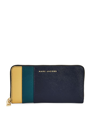 Marc Jacobs Saffiano Colourblock Continental Wallet-MIDNIGHT BLUE-One Size