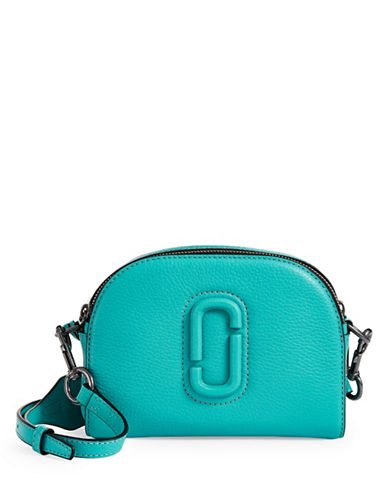 Marc Jacobs Leather Shutter Crossbody Bag-TEAL BLUE-One Size