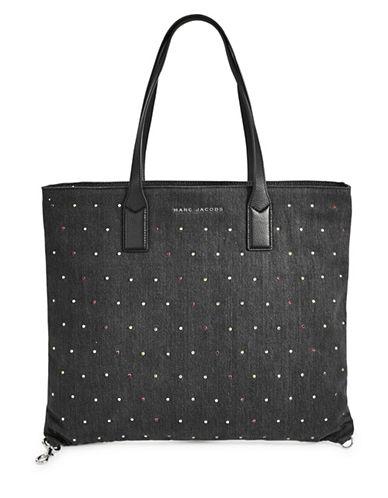 Marc Jacobs Embellished Denim Tote Bag-BLACK-One Size