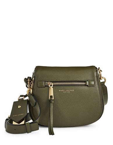 Marc Jacobs Recruit Small Leather Saddle Bag-ARMY GREEN-One Size