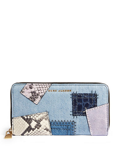 Marc Jacobs Denim Patchwork Standard Continental Wallet-DENIM-One Size
