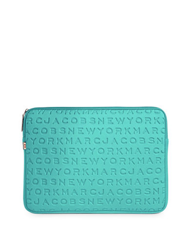 Marc Jacobs Embossed Logo Neoprene Laptop Case-BLUE-One Size