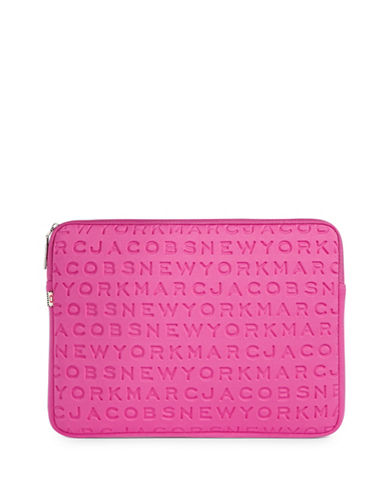 Marc Jacobs Embossed Logo Neoprene Laptop Case-PINK-One Size
