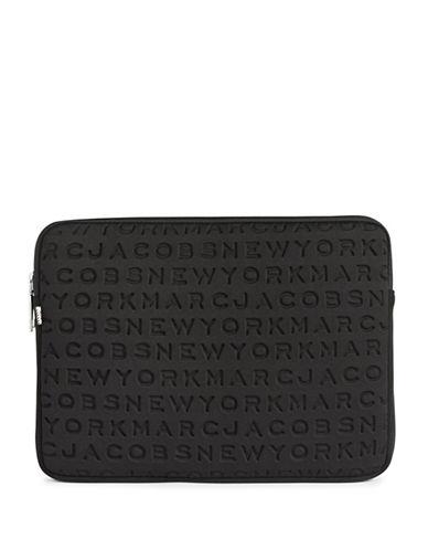 Marc Jacobs Embossed Logo Neoprene Laptop Case-BLACK-One Size
