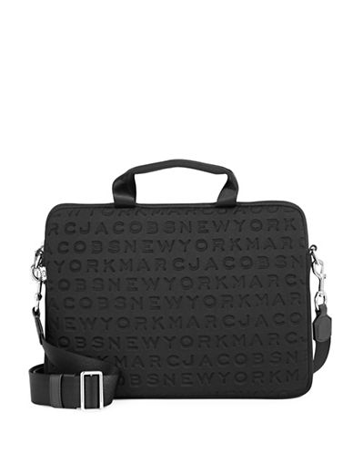 Marc Jacobs Embossed Logo Neoprene Commuter Laptop Case-BLACK-One Size