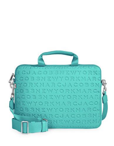 Marc Jacobs Embossed Logo Neoprene Commuter Laptop Case-BLUE-One Size