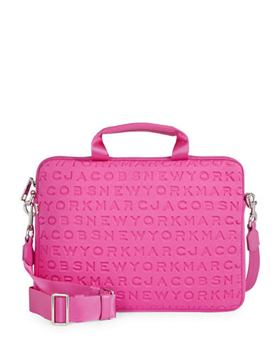 Marc Jacobs Embossed Logo Neoprene Commuter Laptop Case-PINK-One Size