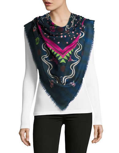 Marc Jacobs Morning Glories Wool Scarf-BLUE MULTI-One Size