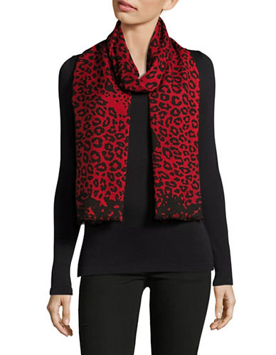 Marc Jacobs Leopard Print Wool-Blend Scarf-BLACK/GREY-One Size