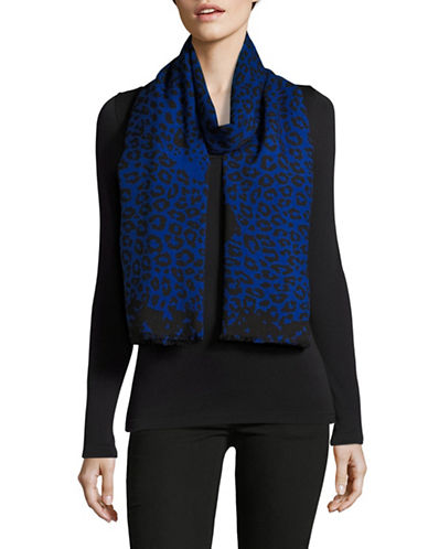 Marc Jacobs Leopard Print Wool-Blend Scarf-BLACK/BLUE-One Size