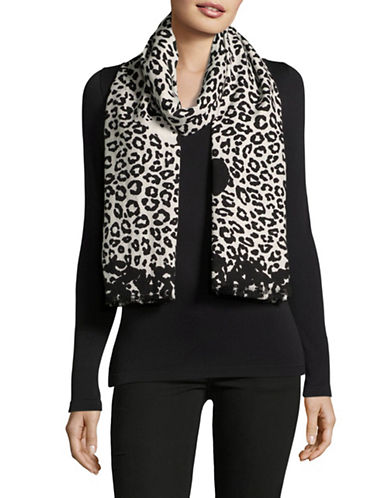 Marc Jacobs Leopard Print Wool-Blend Scarf-BLACK/WHITE-One Size