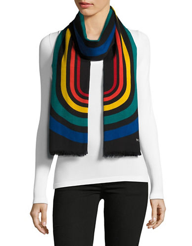 Marc Jacobs Vintage Stripe Logo Wool-Blend Scarf-MULTI-One Size