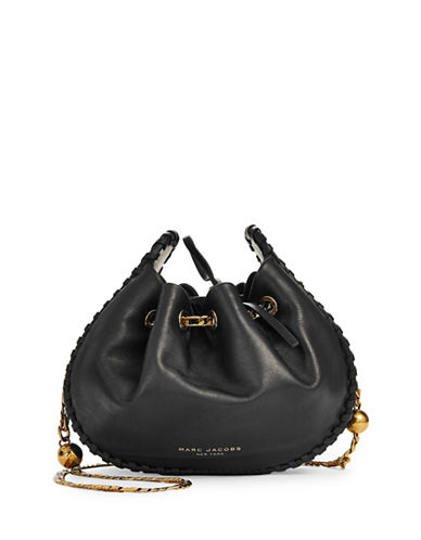 Marc Jacobs Drawstring Leather Bucket Bag-BLACK-One Size