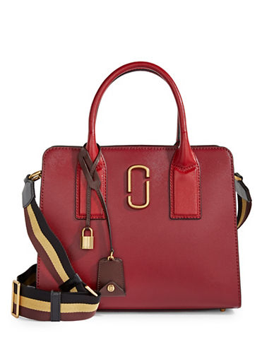 Marc Jacobs Big Shot Coated Leather Satchel-MAROON-One Size