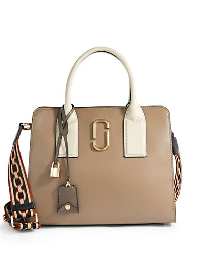Marc Jacobs Big Shot Coated Leather Satchel-BEIGE-One Size