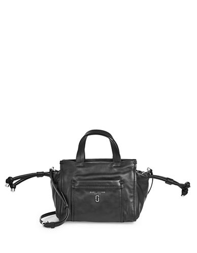 Marc Jacobs Small Drawstring Leather Tote-BLACK-One Size