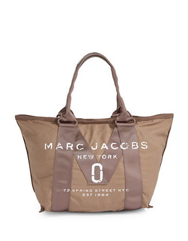 Marc Jacobs Canvas Logo Small Tote-BROWN-One Size