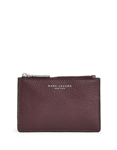 Marc Jacobs Top Zip Leather Card Wallet-PURPLE-One Size