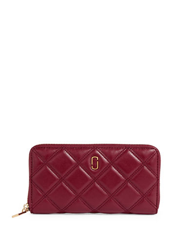 Marc Jacobs Double J Quilted Leather Wallet-RED-One Size