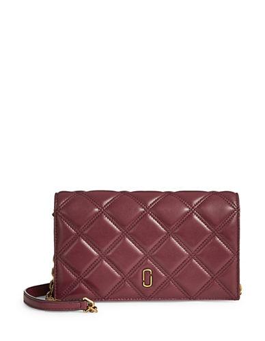 Marc Jacobs Quilt Zip Leather Crossbody Bag-CABERNET-One Size
